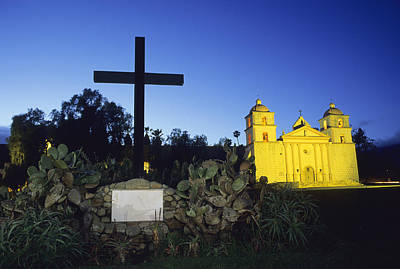 The Santa Barbara Mission At Sunset Poster by Rich Reid