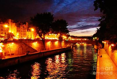 The Seine At Sunset Poster by John Malone