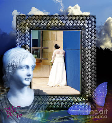 Poster featuring the digital art The Shy Bride by Rosa Cobos