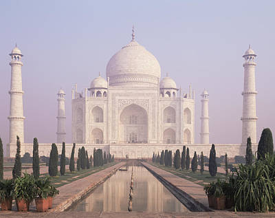 The Taj Mahal A White Marble Mausoleum Poster by Dave and Les Jacobs