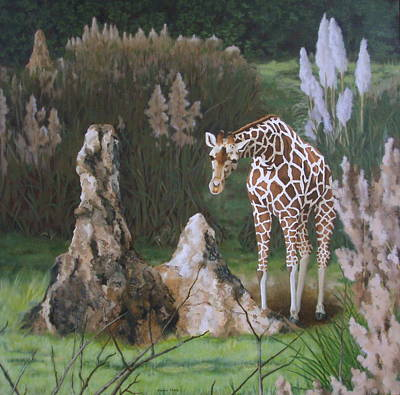 Poster featuring the painting The Termite Mounds by Sandra Chase