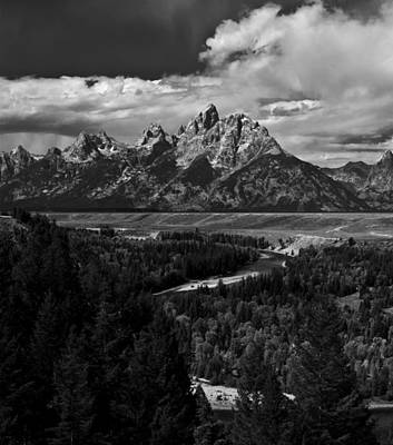 The Tetons - Il Bw Poster by Larry Carr