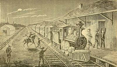 The Texas Express Train Being Robbed Poster by Everett