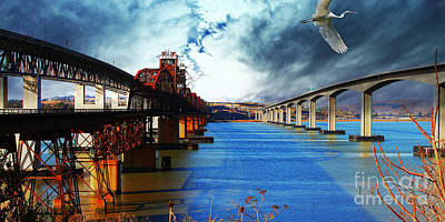 Poster featuring the photograph The Three Benicia-martinez Bridges . A Journey Through Time by Wingsdomain Art and Photography