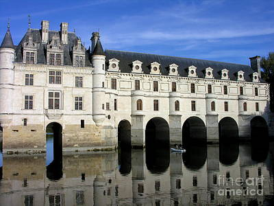 The Tranquility Of The Chateau De Chenonceau Poster by Anne Gordon