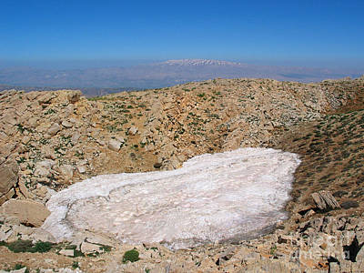 the un melted snow in Sannir mountains  Poster by Issam Hajjar