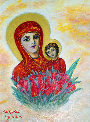 The Virgin And The Child Poster by Augusta Stylianou