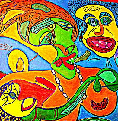 The Yellow Man - Acrylic On Stretched Canvas  Poster by Sebastian Joseph