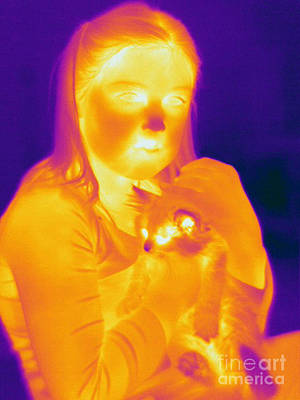 Thermogram Of A Girl And Cat Poster by Ted Kinsman