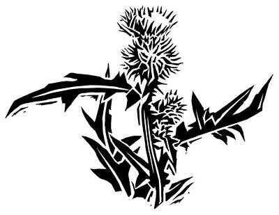 Thistle, Lino Print Poster