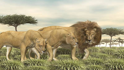 Poster featuring the digital art Three African Lions by Walter Colvin