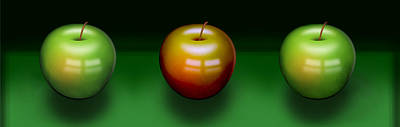 Poster featuring the digital art Three Apples by Katy Breen