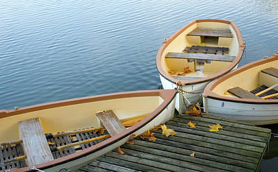 Three Boats Floating On Pond Beside Pier Poster by Les beautés de la nature / Natural Beauties