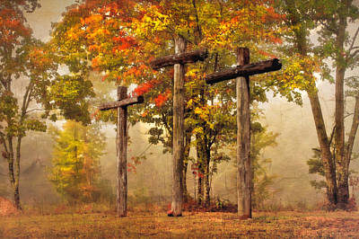 Three Crosses Poster by Debra and Dave Vanderlaan