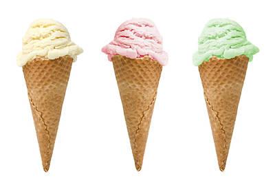 Three Ice Creams Poster by Amanda Elwell