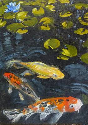 Three Koi And Lily Poster