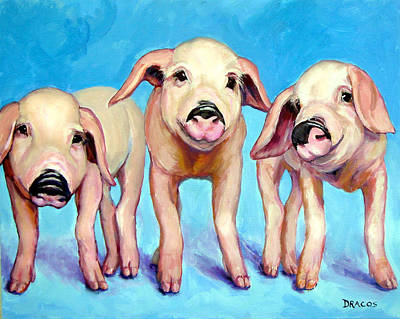 Three Little Piggies Poster by Dottie Dracos