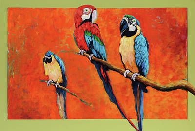 Captive Birds And Abstracted Rain Forest   Poster