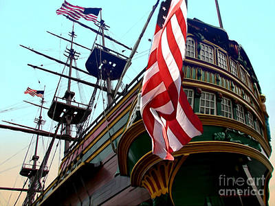 Three Masted Ship Poster by Jerry L Barrett