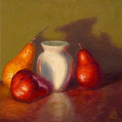Poster featuring the painting Three Pears by Joe Bergholm