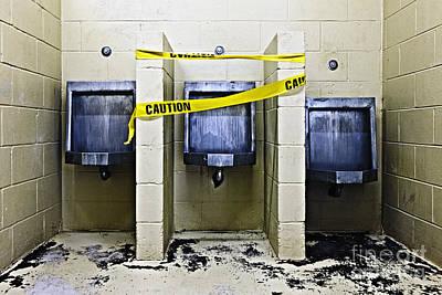 Three Public Urinals In Disrepair Poster