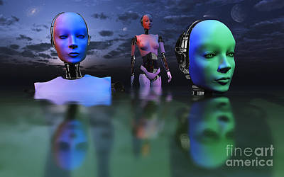 Three Robots Link To Form One Super Poster