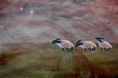 Poster featuring the digital art Three Sheep In The Wind And Pigs Fly by Jean Moore