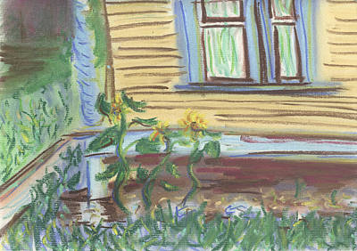 Poster featuring the pastel Three Sunflowers By The Porch by Denny Morreale