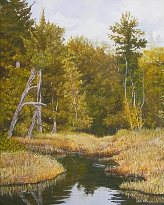 Poster featuring the painting Three Turtles Lake Conestee by Robert Decker