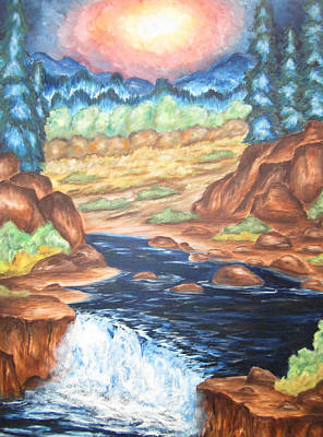 Poster featuring the painting Thru The Mountains by Cheryl Pettigrew