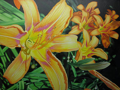 Tiger Lillies In Bloom Poster by Jeff Taylor