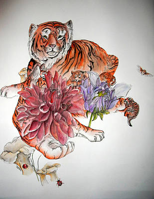 Poster featuring the painting Tigers The Color Of Orange by Debbi Saccomanno Chan