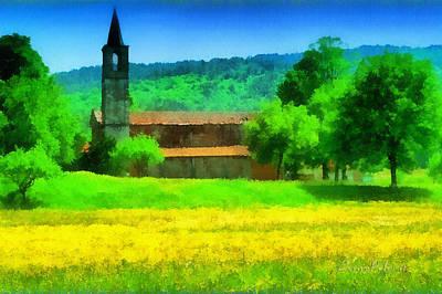 Poster featuring the mixed media Tiglieto Abbazia Cistercense by Enrico Pelos