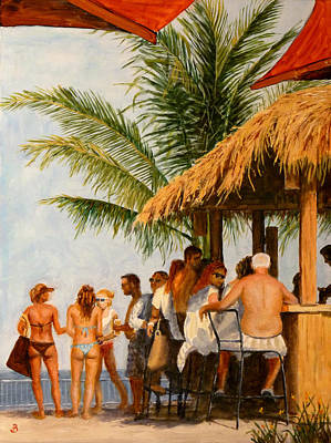 Poster featuring the painting Tiki Bar by Joe Bergholm