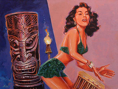 Tiki Tarts- She's Gone With The Hula Hula Boys Poster by Shawn Shea