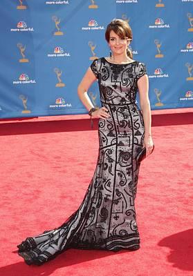 Tina Fey Wearing Oscar De La Renta Poster
