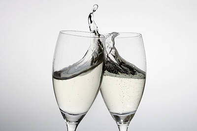 Toasting With Two Glasses Of Champagne Poster by Dual Dual