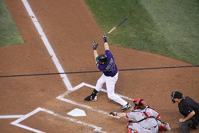 Todd Helton Takes A Swing Poster by Cynthia  Cox Cottam