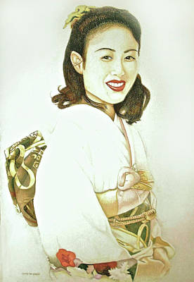 Poster featuring the drawing tomomi in Kimono by Tim Ernst