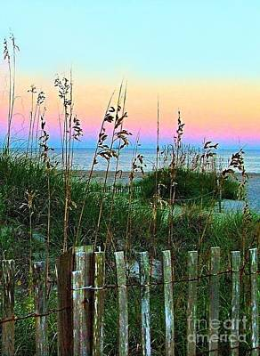 Topsail Island Dunes And Sand Fence Poster by Julie Dant