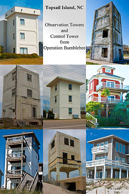 Topsail Island Towers Poster by Betsy Knapp