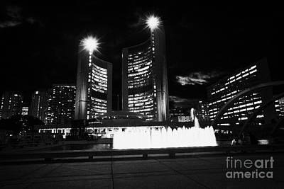 Toronto City Hall Building And Nathan Phillips Square At Night Poster