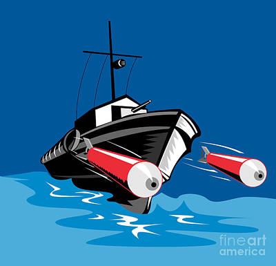 Torpedo Boat Retro Poster by Aloysius Patrimonio