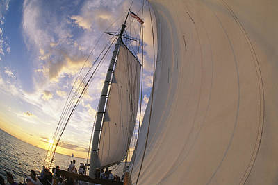 Tourists Enjoy Sailing On A Schooner Poster by Michael Melford