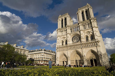 Tourists Gathered Outside The Notre Poster by Richard Nowitz