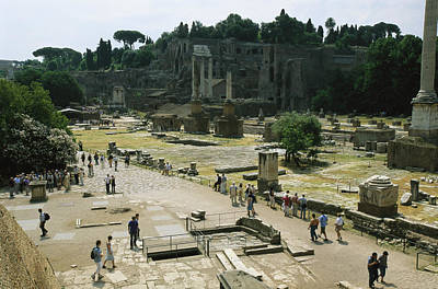 Tourists On The Grounds Of The Forum Poster