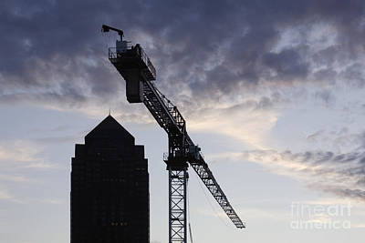Tower Crane With Building Silhouette In Background Poster by Jeremy Woodhouse