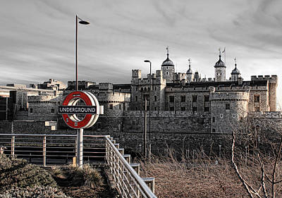 Tower Of London With Tube Sign Poster by Jasna Buncic