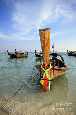 Traditional Thai Long-tail Boat On The Beach Poster by Anek Suwannaphoom