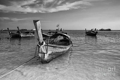 Traditional Thai Long Tail Boat On The Beach At Lipe Island Poster